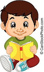 kids boy reading book cartoon - illustration of kids boy...