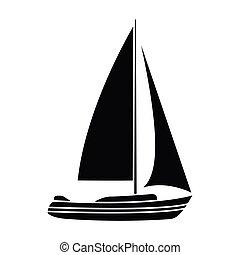 Segelboot zeichnung schwarz  Vektor von segelboot, ledig, ikone - wohnung, design, ledig ...