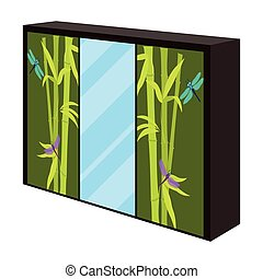 Wardrobe with mirror and green doors. the place for clothes.Bedroom furniture single icon in cartoon style vector symbol stock illustration.