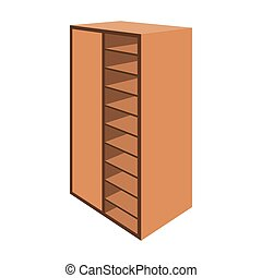 A brown wooden bookcase with many books on its shelves. Home library. Love reading. Large brown bookcase.Bedroom furniture single icon in cartoon style vector symbol stock illustration.