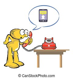 Old red phone and current cellular technology - The old...