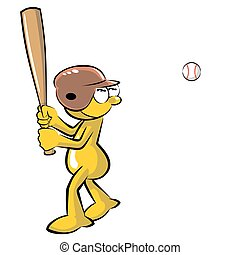 Funny Baseball batter cartoon, isolated on white background