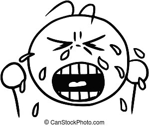 Vector Smiley Cartoon of Crying Face; Tears and Cry