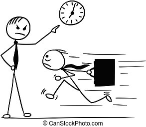 Cartoon of Man Running Late for Work and his Boss Pointing...