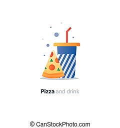 High glass of drink with piece of pizza, fast food cafe...