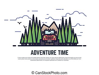 Adventure time offroad - Line style 4x4 offroad color vector...