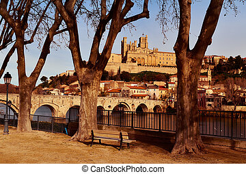 Orb River and Old Town of Beziers, France - a view of the...