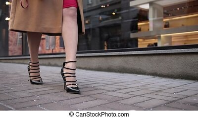 Stylish woman in high heels walking - Fashionable stylish...
