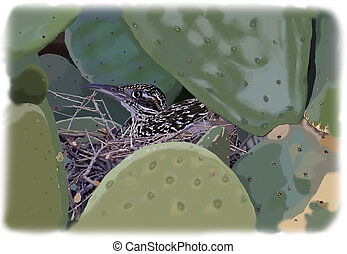 Greater Roadrunner on nest - Greater Roadrunner - Geococcyx...