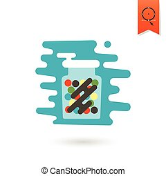 Gumballs in a Jar. Dessert Icon in Simple, Minimalistic and...