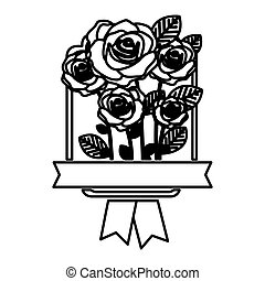 decorative emblem with oval roses icon