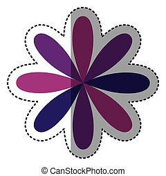 purple flower with oval petals icon