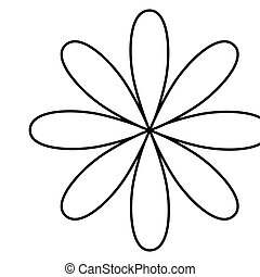 figure flower with oval petals icon