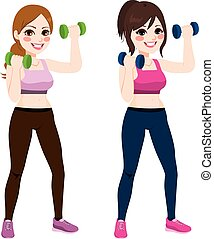 Fitness Dumbbell Women - Two beautiful young women doing...