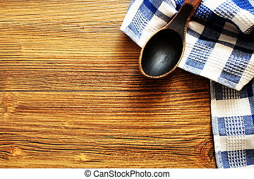 Wooden spoon on wood texture of dining table . Top view Kitchen and food concept