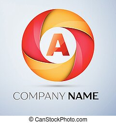 A letter colorful logo in the circle. Vector template for your design