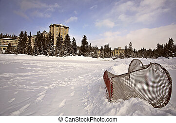 Chateau Lake Louise in winter in Alberta Canada - Chateau...