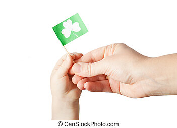 Hand hold flag with Patrick's day flag