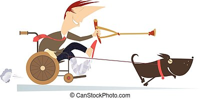 Dog hauling a sick man in the wheelchair by the rope