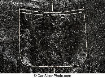 Pocket on black leather clothing