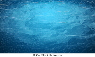 Blue abstract polygonal background with shifting wireframe...