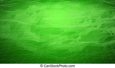 Green abstract polygonal background with shifting wireframe...