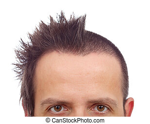 Male upper half face with funny haircut and copyspace on...