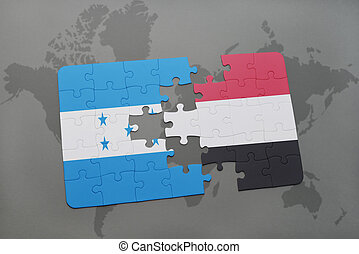 puzzle with the national flag of honduras and yemen on a...