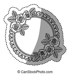 silhouette round emblem with oval roses icon