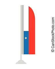Isolated Chilean flag on a pole, Vector illustration