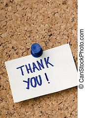 Thank you letter - Thank you message on sticker note pin on...