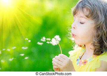 花, タンポポ, 屋外で, 吹く, 子供, 幸せ