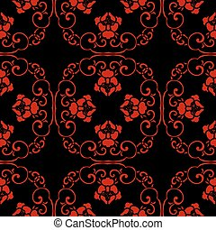 Seamless Chinese Background Spiral Cross Chain Flower