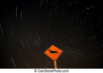 Star tracks behind deer crossing sign