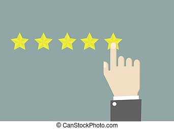 Five Star Rating - minimalistic illustration of hands of a...