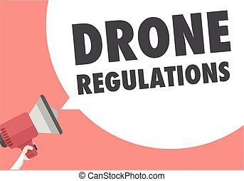 Loudspeaker Drone Regulations - minimalistic illustration of...