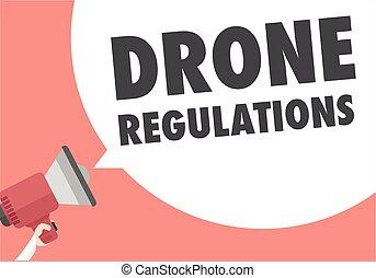 Loudspeaker Drone Regulations - minimalistic illustration of...