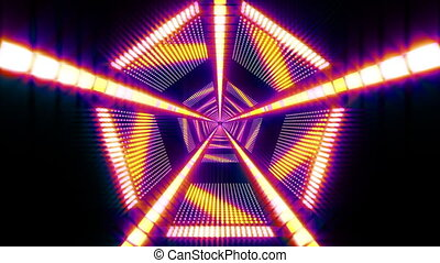 Pentagonal Light Tunnel - Looped seamless video for your...