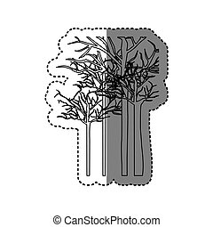 silhouette trees without leaves icon, vector illustraction...