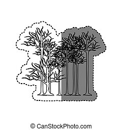 contour trees without leaves icon, vector illustraction...