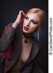 Awesome blonde woman with decollete and wearing chocker -...