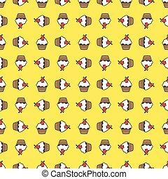 Yellow background cupcake seamless pattern