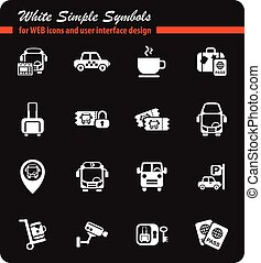 bus station icon set - bus station white simple symbols for...