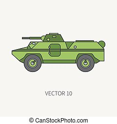 Line flat color vector icon infantry assault armored army...