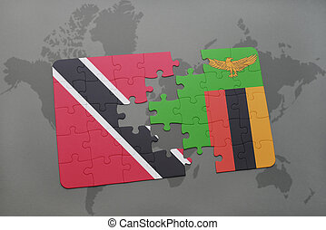 puzzle with the national flag of trinidad and tobago and...
