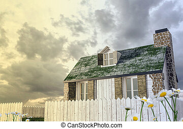 country house - 3d illustration of a country house