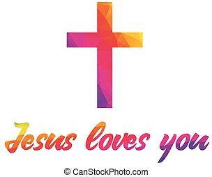 Poster with christian cross and saying Jesus loves you made of rainbow colorful polygonal abstract shapes