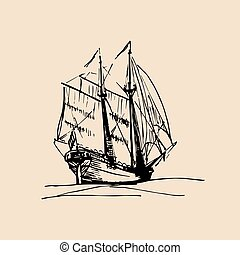 Vector illustration of sailing ship in the sea in ink style....