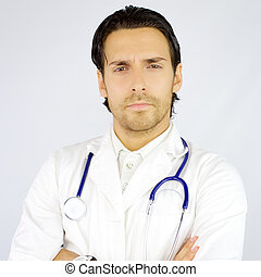 Portrait of serious handsome doctor looking camera - Cool...