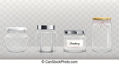 Set of vector empty glass jars with lids in realistic style...